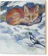 Red Fox With Magpie Wood Print
