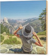 Relaxing At Glacier Point Wood Print