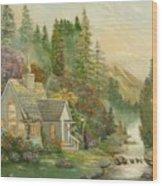 Reproduction Of Thomas Kinkade Wood Print