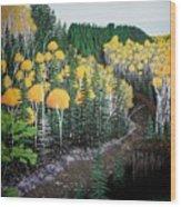 River Through Golden Forest Wood Print