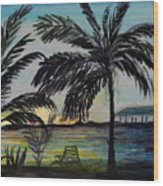 Roatan Sunset Wood Print