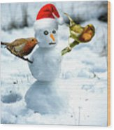 2 Robins On A Snow Man Wood Print
