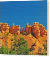 Rock Formations In Red Canyon Park In Utah. Wood Print