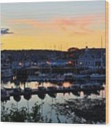 Rockport Harbor Sunset I Wood Print