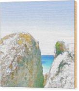 2 Rocks By The Sea Wood Print by Jan Hattingh