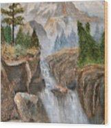 Rocky Mountain Waterfall Wood Print by Alanna Hug-McAnnally