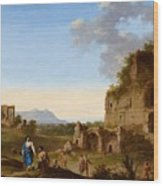 Roman Landscape With Ruins And Travellers Wood Print