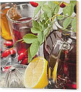 Rosehip Tea With Honey And Lemon In Glass Wood Print