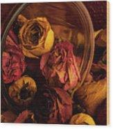 Roses Spilling Out Of Vase Wood Print