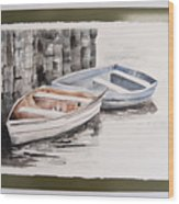 2 Rowboats At Rest Wood Print