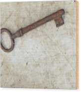 Rusty Key On Old Parchment Wood Print