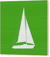 Sailboat In Green And White Wood Print