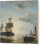 Sailing Ships At Dusk Wood Print