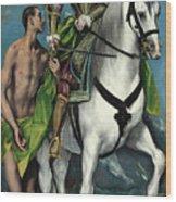 Saint Martin And The Beggar Wood Print