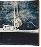 Salty Shrimp Boat Wood Print