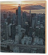 San Francisco City Skyline At Sunset Aerial Wood Print