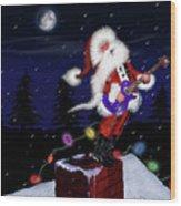 Santa Plays Guitar In A Snowstorm Wood Print