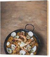 Seafood And Rice Paella Traditional Spanish Food Wood Print