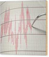 Seismograph Earthquake Activity Wood Print