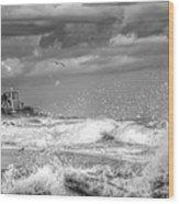 Serious Ocean Wood Print
