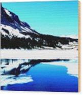 Shiny Snow Magic On Lake Wood Print