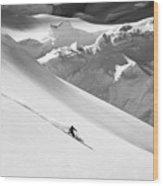 Ski Denali Wood Print