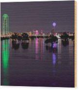 Skyline Of Dallas, Texas At Night Across Flooded Trinity River Wood Print