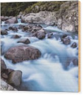 Slow Shutter Photo Of Figarella River At Bonifatu In Corsica Wood Print