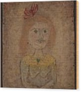 Small Portrait Of A Girl In Yellow Wood Print