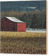 Snowy Red Barn In Winter Wood Print
