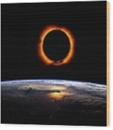 Solar Eclipse From Above The Earth Wood Print