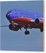 Southwest Airlines Airplane In Flight Wood Print