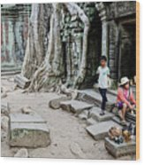 Souvenir Trinket Stall Vendor In Angkor Wat Famous Temple Cambod Wood Print