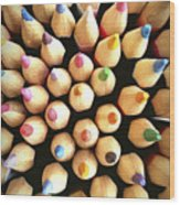 Stack Of Colored Pencils Wood Print