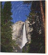 Star Trails At Yosemite Falls Wood Print