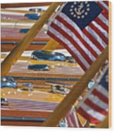 Stars And Stripes On The Water Wood Print