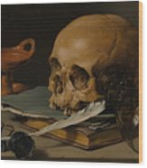 Still Life With A Skull And A Writing Quill Wood Print