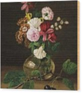 Still Life With Flowers In A Glass Vase And Cherry Twig Wood Print
