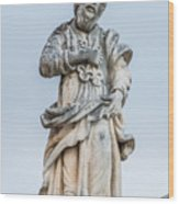 Stone Statue In The Old Town Perast  Wood Print