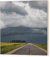 Storm Clouds Prairie Sky Wood Print