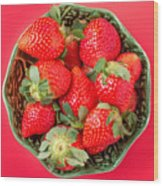 Strawberries In A Wooden Bowl On The Old Wooden Table Wood Print