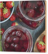 Strawberry Preserve Wood Print
