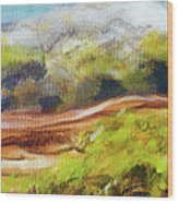 Structure Of Wooden Log Covered With Moss On The Riverside, Closeup Painting Detail. Wood Print
