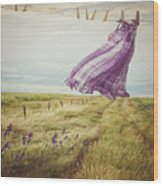 Summer Dress Blowing On Clothesline With Girl Walking Down Path Wood Print