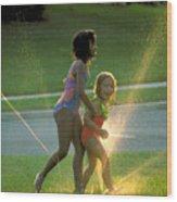 Summer Fun In A Sprinkler Wood Print