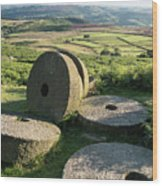 Summer Landscape Image Of Millstones On Top Of Stanage Edge In P Wood Print