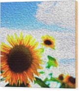 Sunflowers Abstract Wood Print