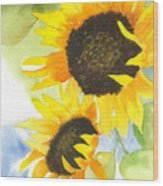 2 Sunflowers Wood Print