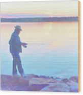 Sunrise Fisherman Wood Print