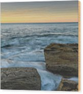 Sunrise On The Rocky Coast Wood Print